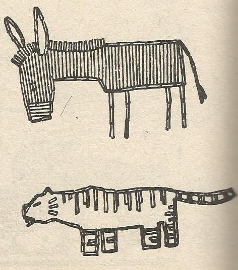 Тигр и ослик. Мозаика из спичек