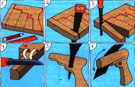 Как сделать пистолет из дерева своими руками картинки